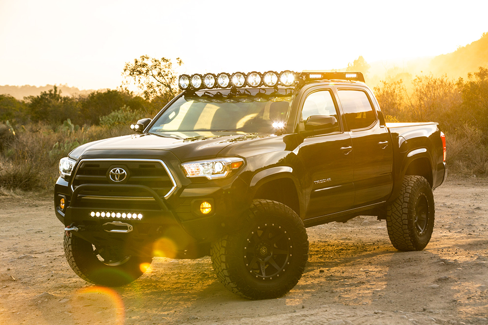 KC Hilites M-RACK with 50 inch Gravity LED Pro6 Lights on Double Cab 3rd Gen Tacoma