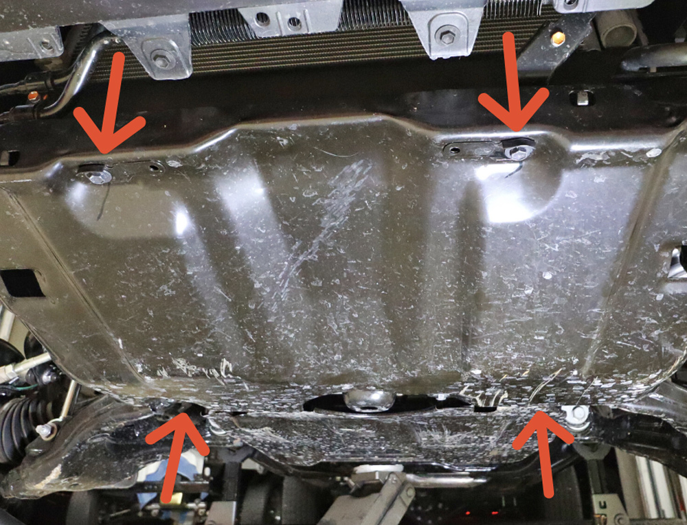 Eibach Pro-Truck Stage 1 Lift System - DIY Install + Overview For the 2020 3rd Gen Tacoma: STEP 3. REMOVE THE SKID PLATE