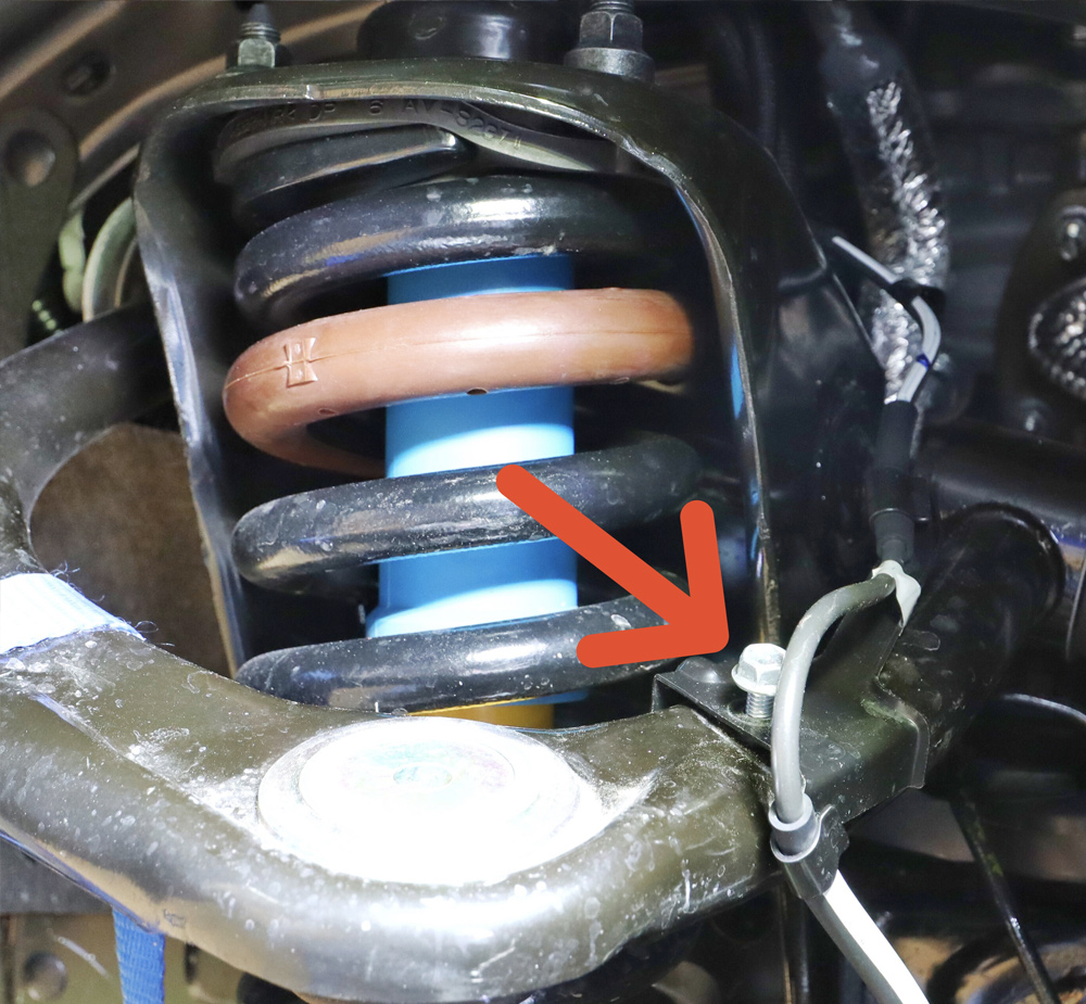 Eibach Pro-Truck Stage 1 Lift System - DIY Install + Overview For the 2020 3rd Gen Tacoma: STEP 5. REMOVE ABS LINE FROM UPPER CONTROL ARM
