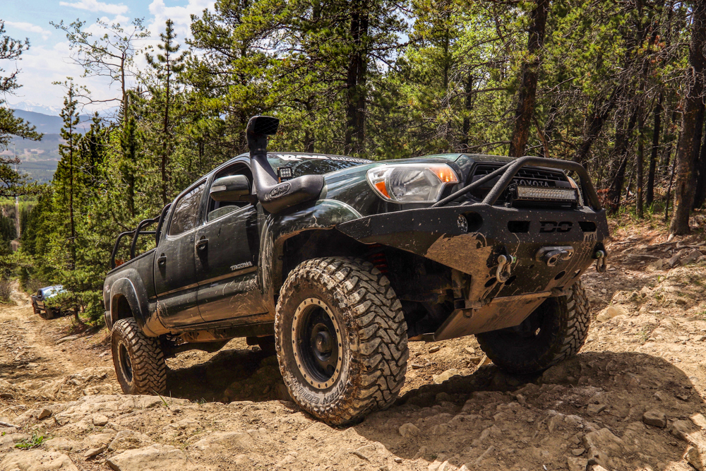 Lifted Spruce Mica 2nd Gen Tacoma with Demello Front Bumper