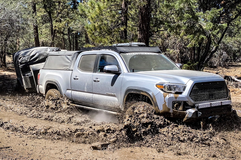 Lifted 3rd Gen Tacoma Water Crossing with X1 Patriot Camper