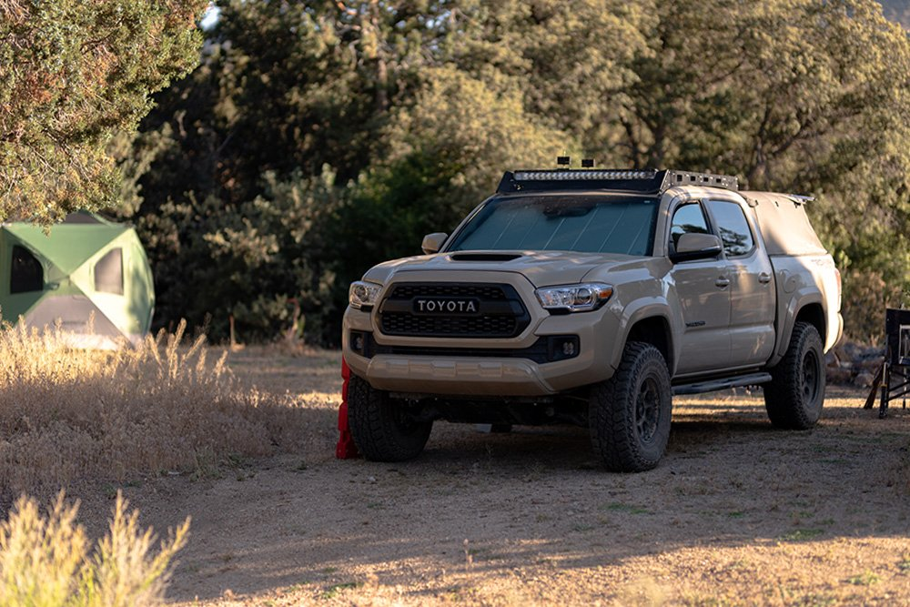 Lifted Quicksand 3rd Gen Tacoma with Softopper Truck Top