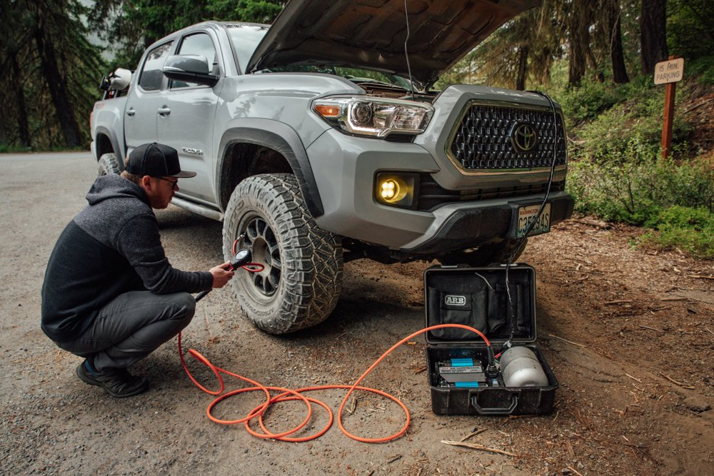 ARB Twin Motor Portable Air Compressor - Airing Up Tires on 3rd Gen Tacoma
