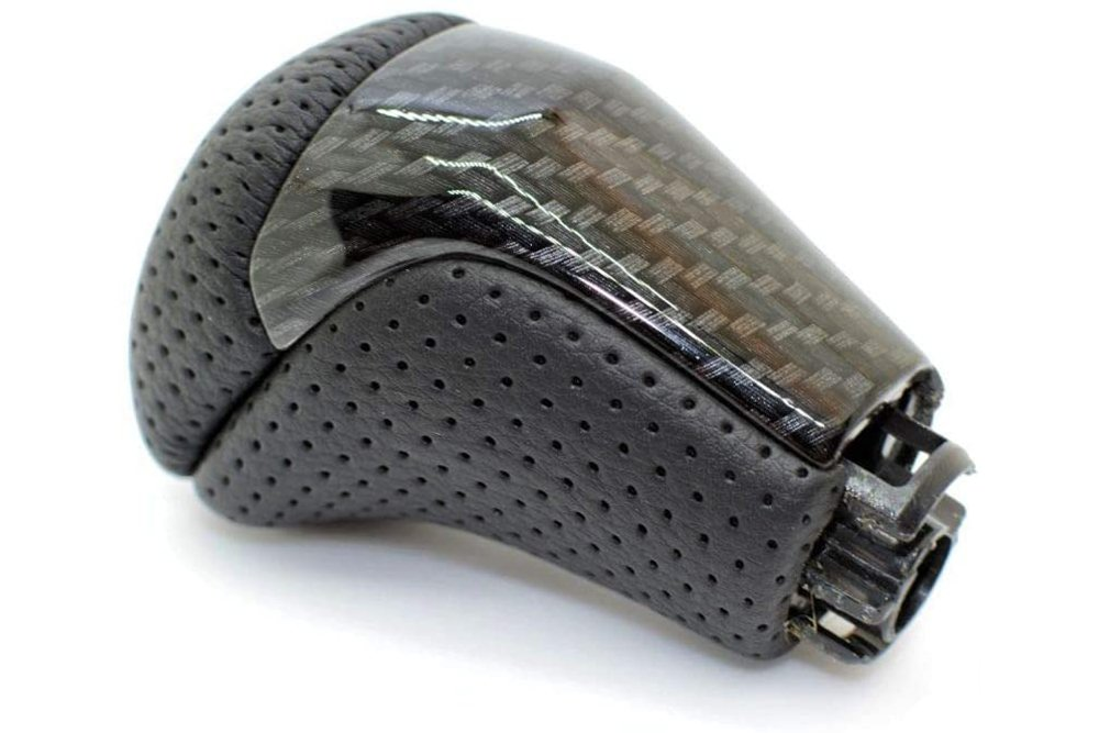 SHIFTIN Carbon Fiber with Punched Black Leather Shift Knob for 3rd Gen Tacoma