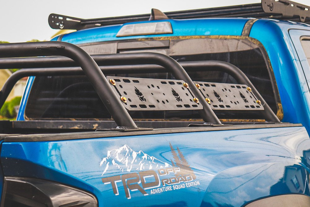 Blazing Blue Pearl 3rd Gen Tacoma with Tacoma Pocalypse Mid-Height Bed Rack
