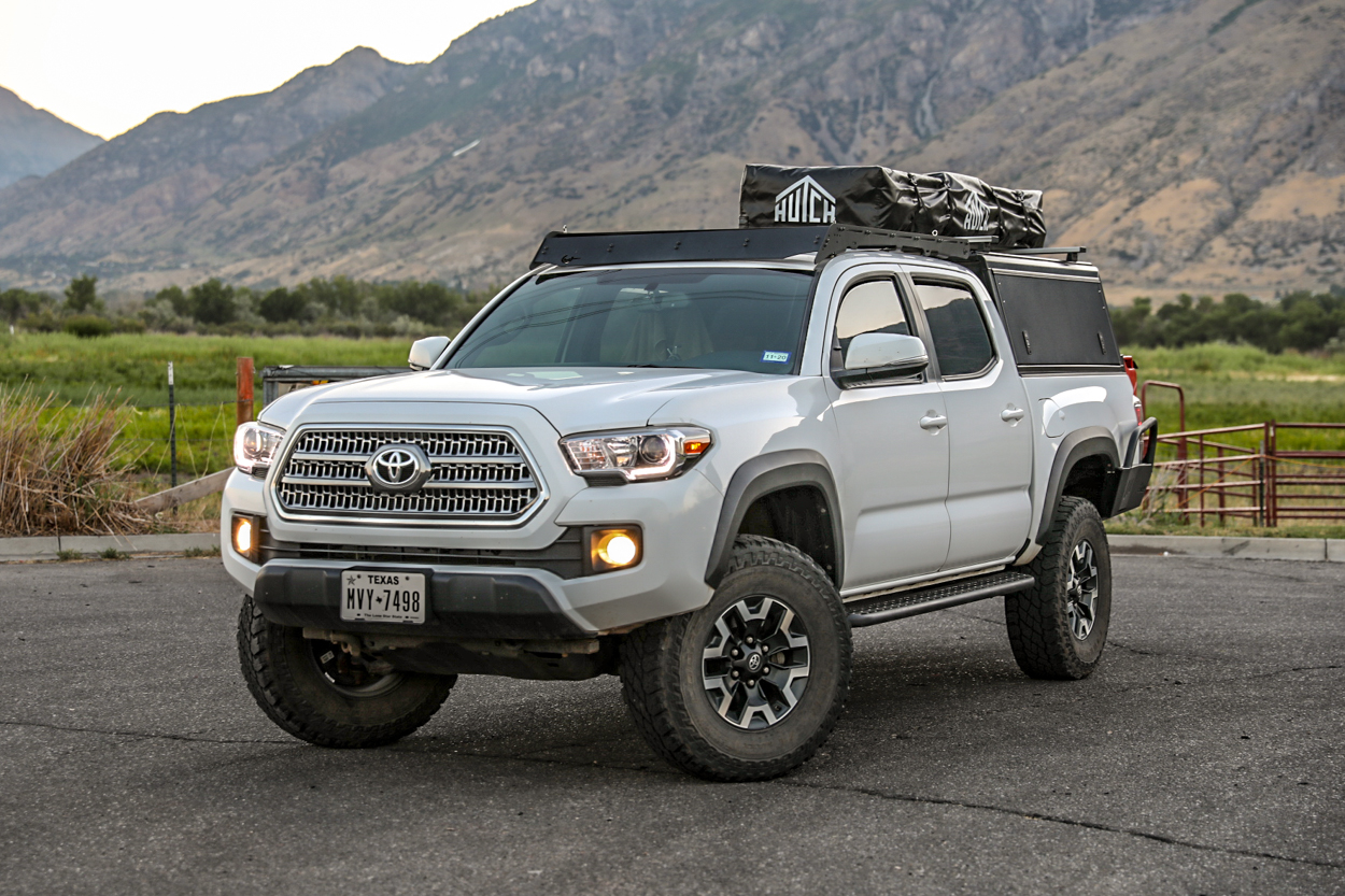 Lifted Super White 3rd Gen Tacoma with Rooftop Tent, AluCab Explorer Canopy & Prinsu Designs Roof Rack