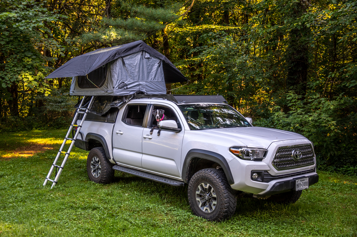 Lifted Super White 3rd Gen Tacoma with Hutch Tents Daly 2 Rooftop Tent