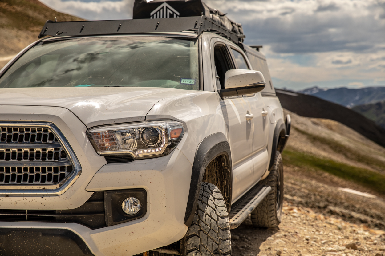 Super White 3rd Gen Tacoma on Engineer's Pass in Southwest Colorado