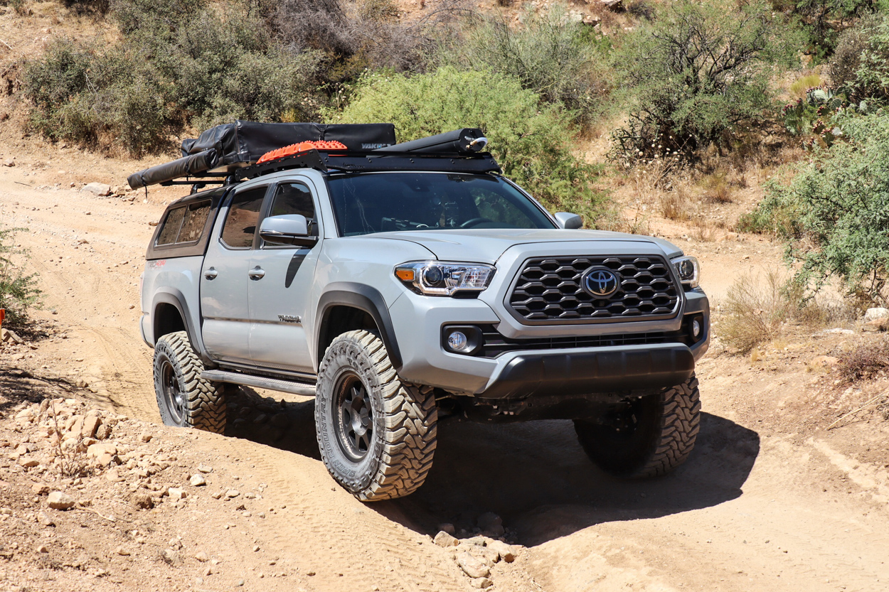 Lifted 3rd Gen Tacoma with 35x12.5R17 Toyo Mud Terrains on Method Wheels Trail 701 Series
