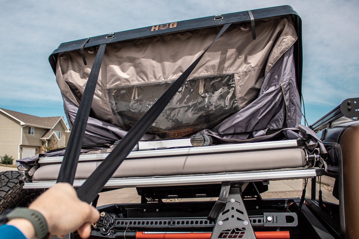 Setting Up Hard Shell Rooftop Tent from Hills Off-Road Gear