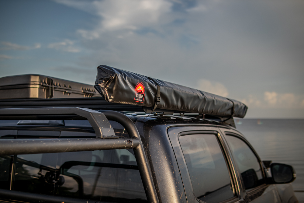 Lifted Magnetic Gray Metallic 3rd Gen Tacoma with Body Armor 4X4 Sky Ridge Awning