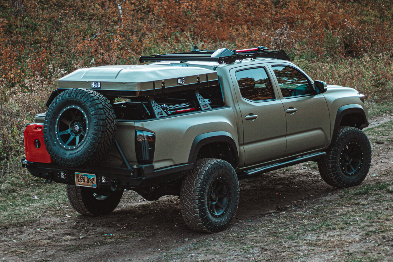 3rd Gen Tacoma with High Clearance Steel Rear Bumper with Swing-Away Tire Carrier - ATH Fabrication