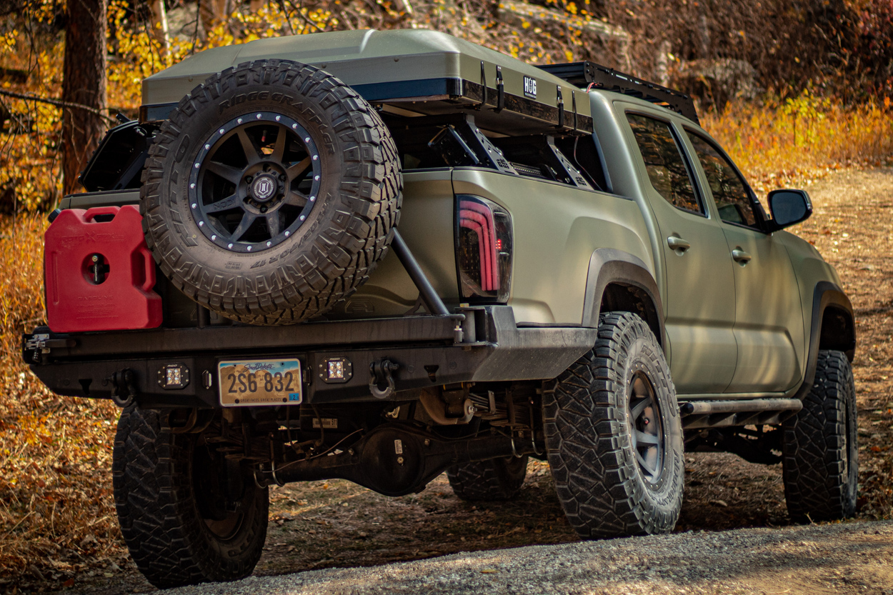 Lifted 3rd Gen Tacoma with ATH Fabrication High Clearance Rear Bumper with Swing-Out Tire Carrier