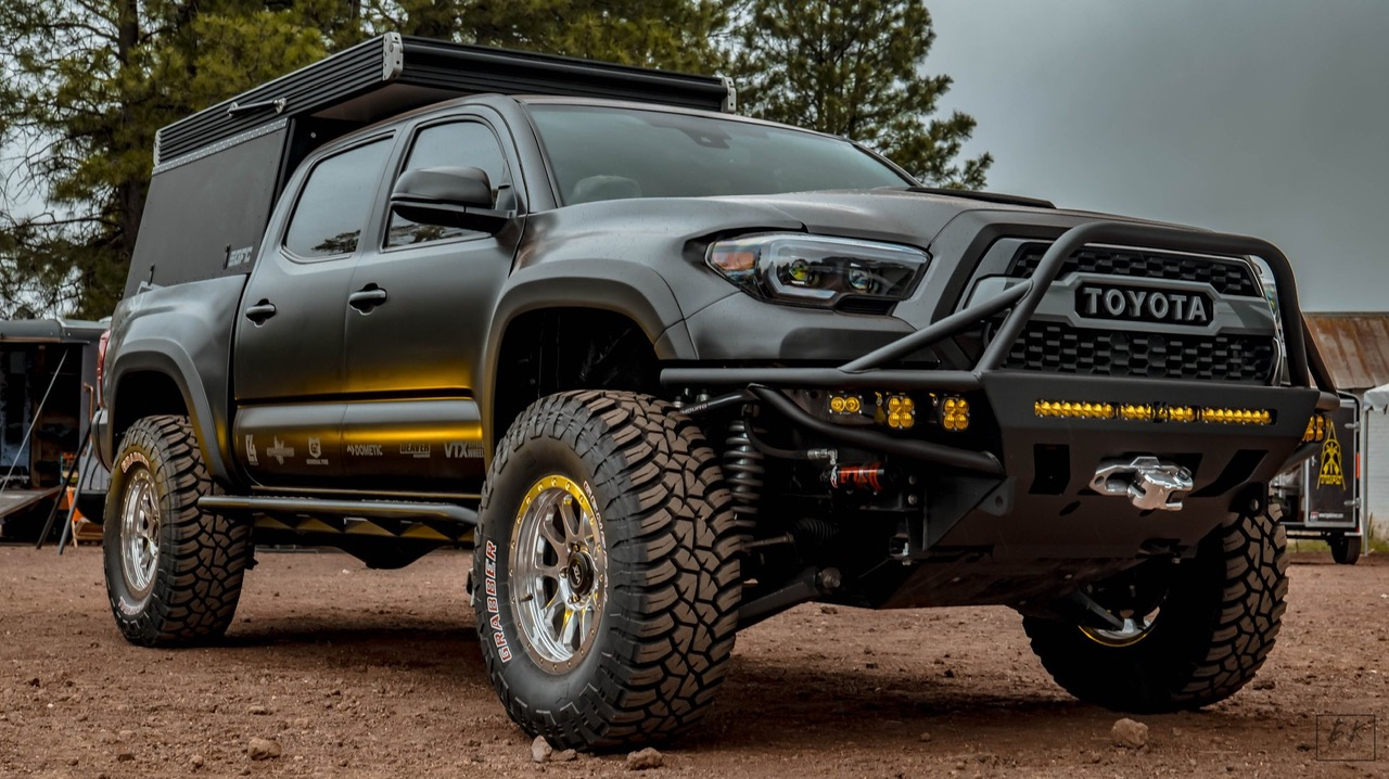 Built 3rd Gen Toyota Tacoma with KMC Wheels, C4 Armor, GFC Camper