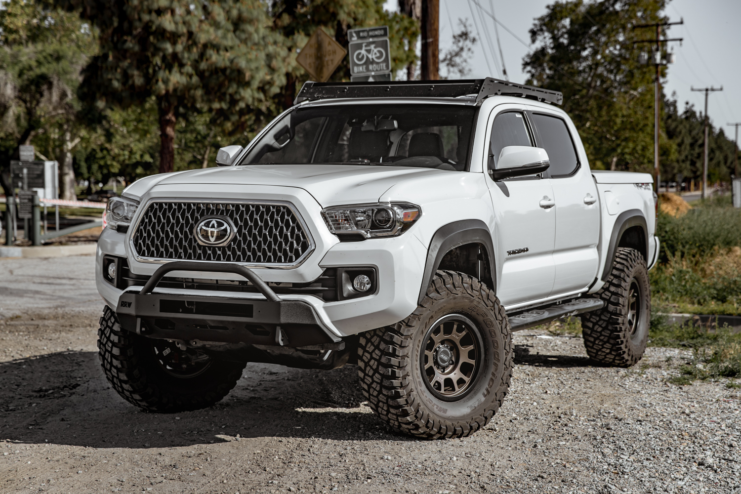 Lifted 3rd Gen Tacoma with Relations Race Wheels (RRW) Low-Profile, Slim Stealth Winch Bumper
