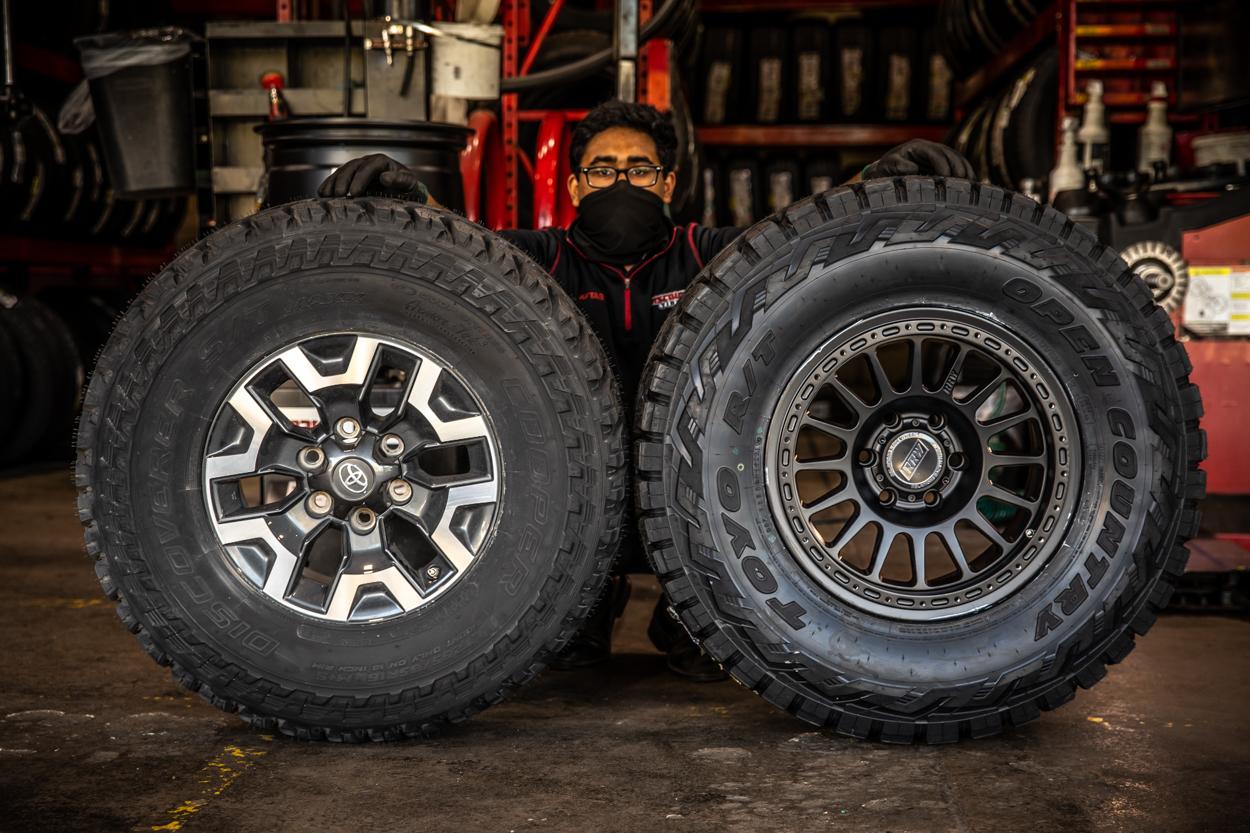 "OEM 16"" Wheels & Skinny 33s VS Relations Race Wheels 17"" RR6-H & 34s"