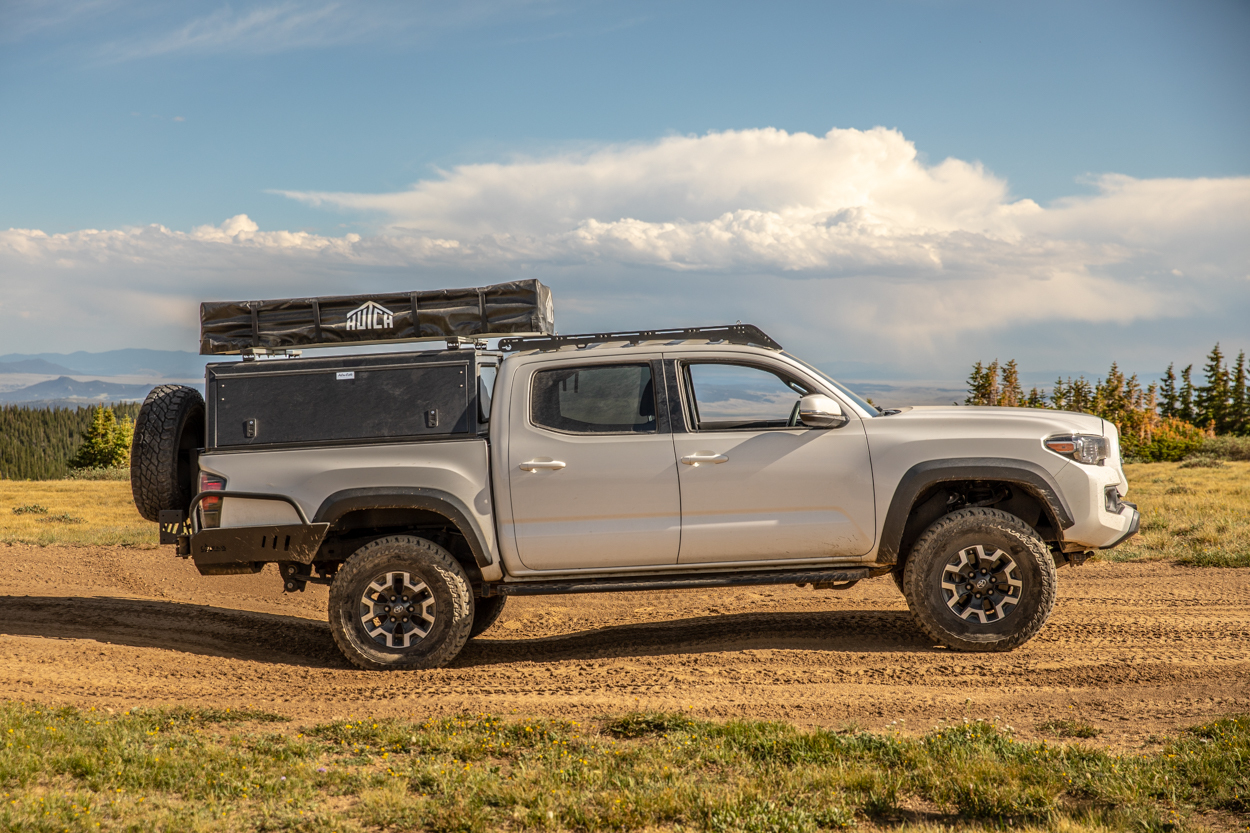 Shrockworks Bolt-On Rock Sliders on Lifted Super White 3rd Gen Tacoma