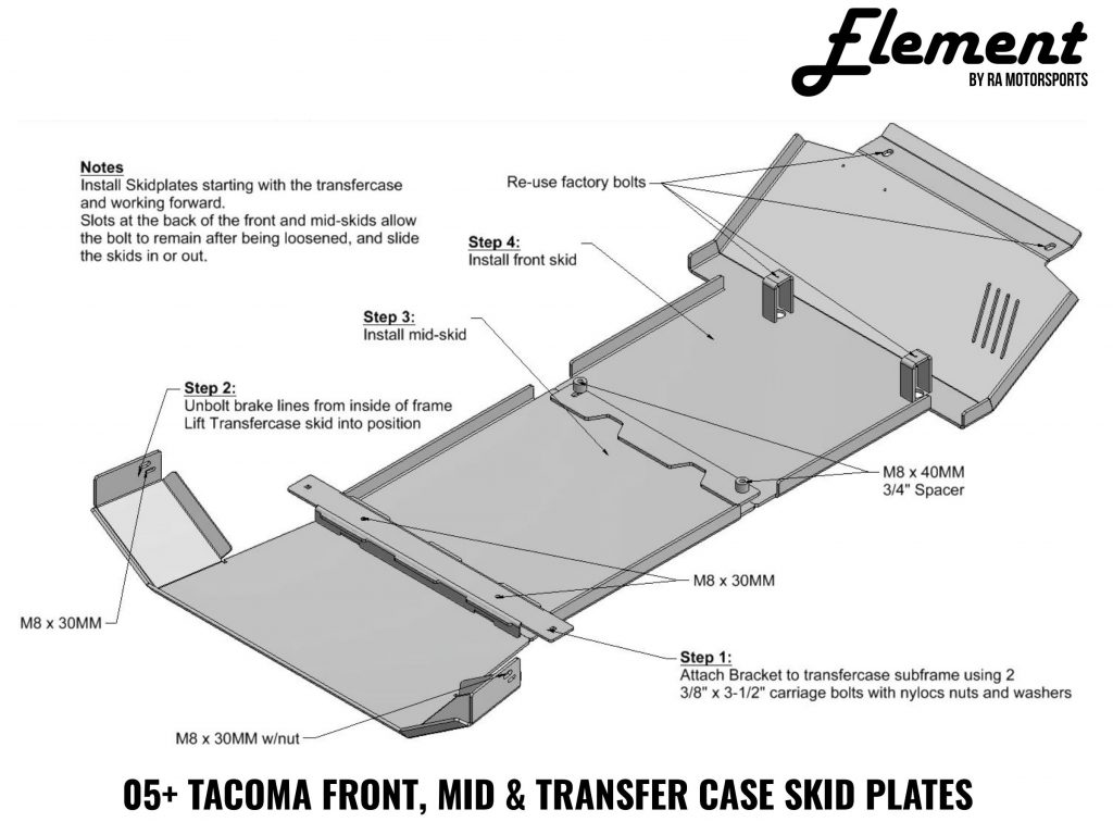 Element Skid Plate Install for 2005-2020 Toyota Tacoma