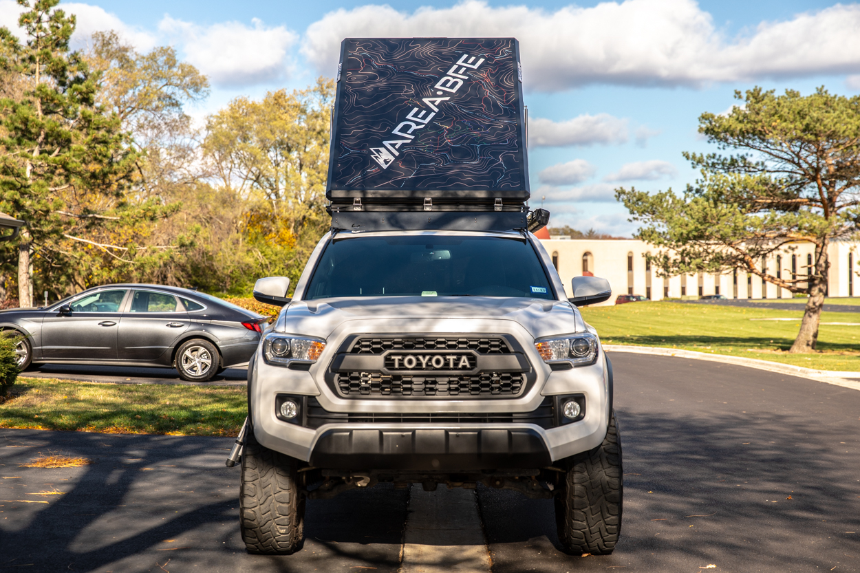 AreaBFe Aluminum Hard Shell Clamshell Rooftop Tent on 3rd Gen Tacoma