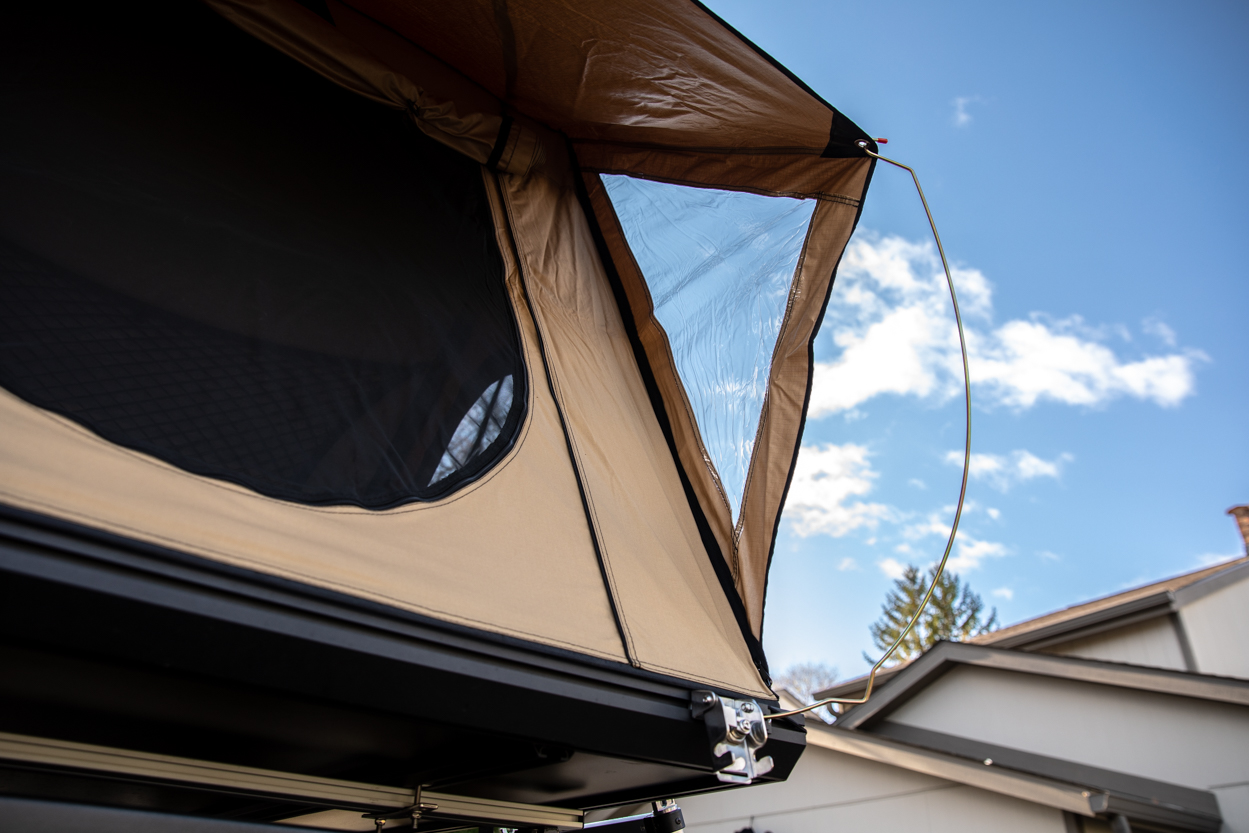 Setting Up Rain Fly on AreaBFE Aluminum Hard Shell Rooftop Tent