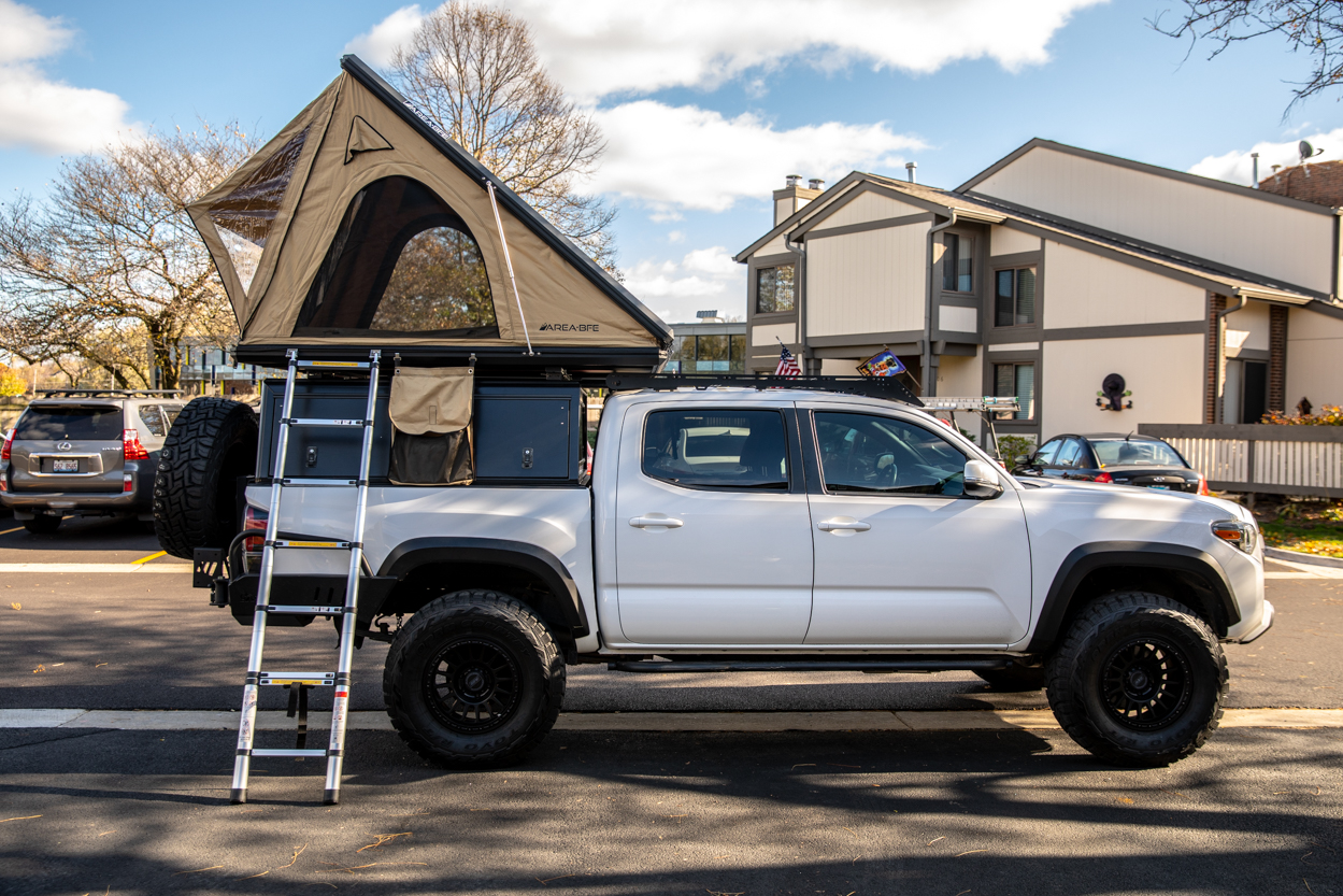 AreaBFE Black Series Hard Shell Rooftop Tent on Lifted 3rd Gen Tacoma