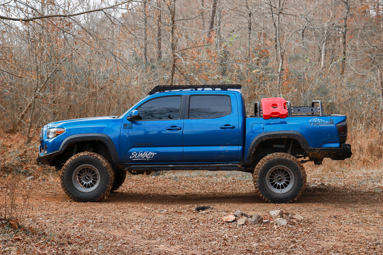Drop Bracket Lifted 3rd Gen Tacoma with RotopaX 3-Gallon Plastic Gas Can
