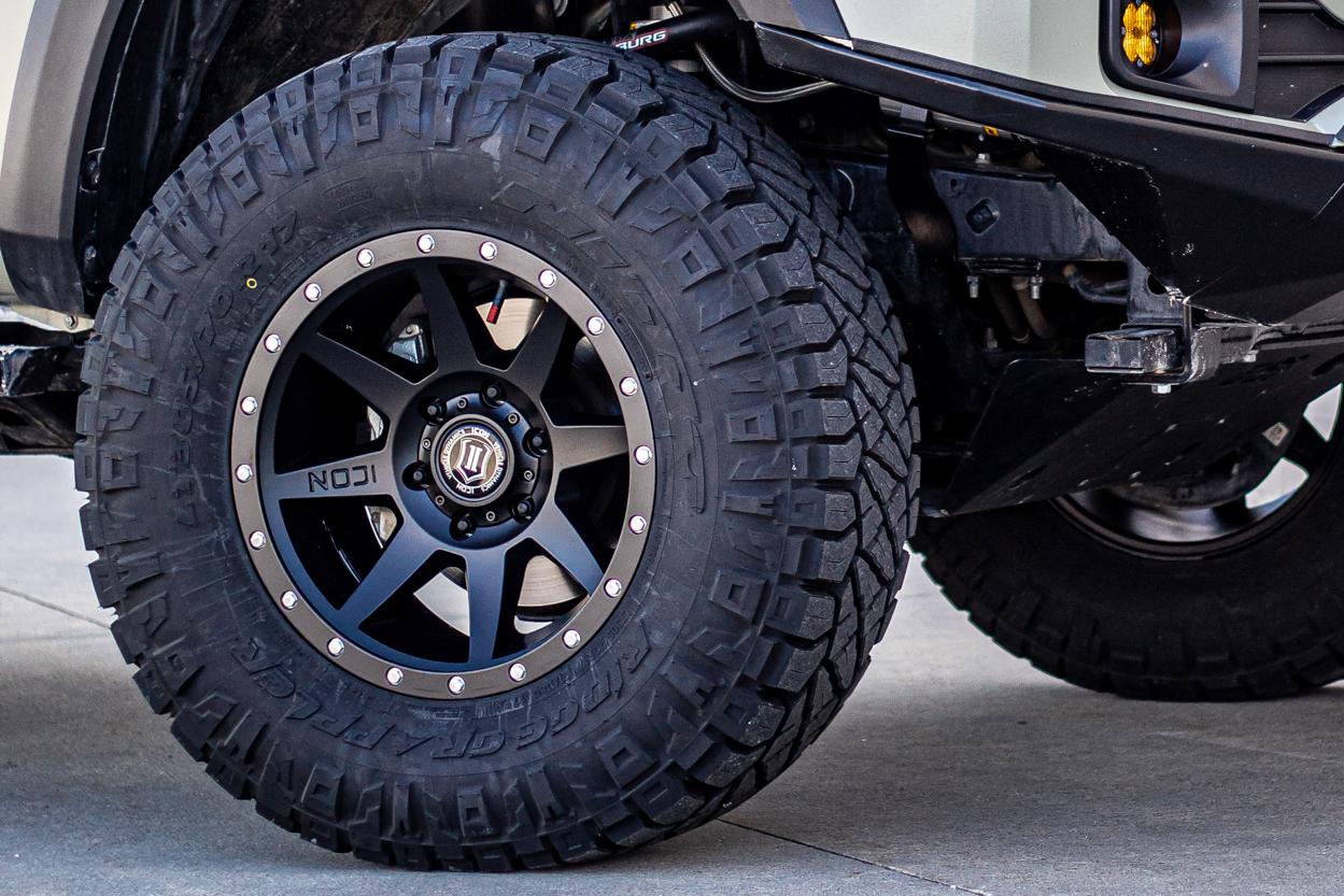 Nitto Tire Ridge Grapplers on Satin Black Icon Rebound HD Aluminum Wheels