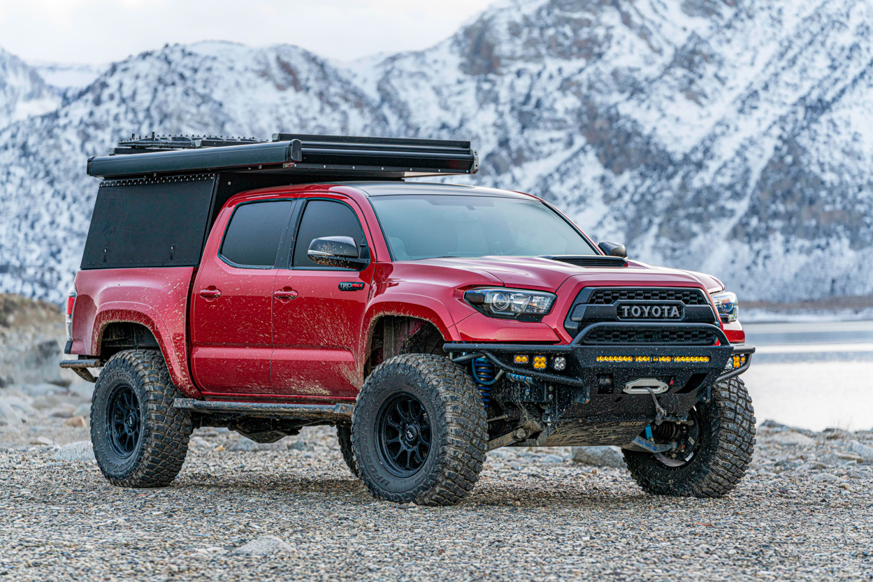 Lifted Barcelona Red Metallix 3rd Gen TRD Pro Tacoma with GFC Camper