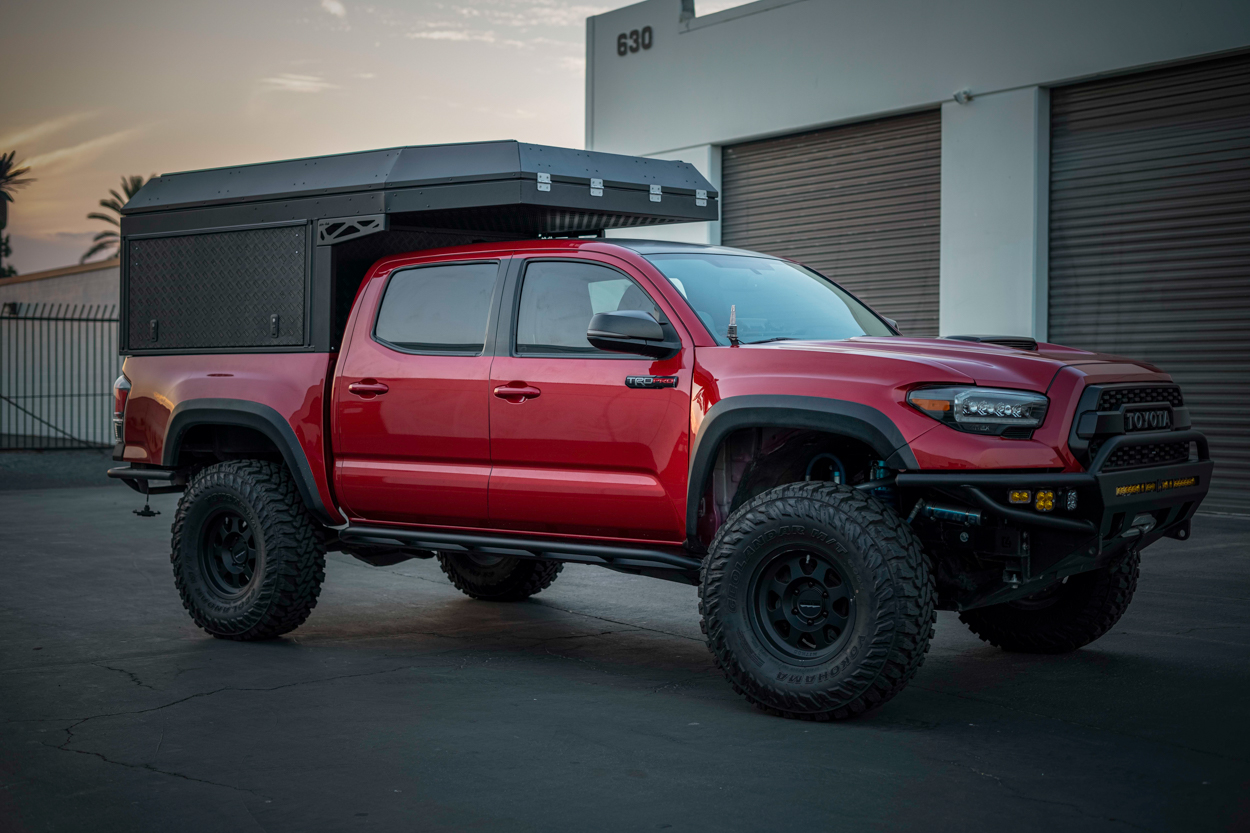 Long Travel Barcelona Red TRD Pro 3rd Gen Tacoma with AluCab Camper