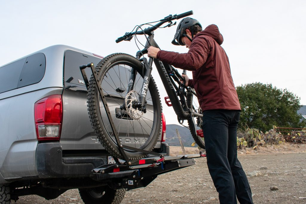 Placing Bikes into 1UP USA Heavy Duty Hitch Mounted Bike Carrier