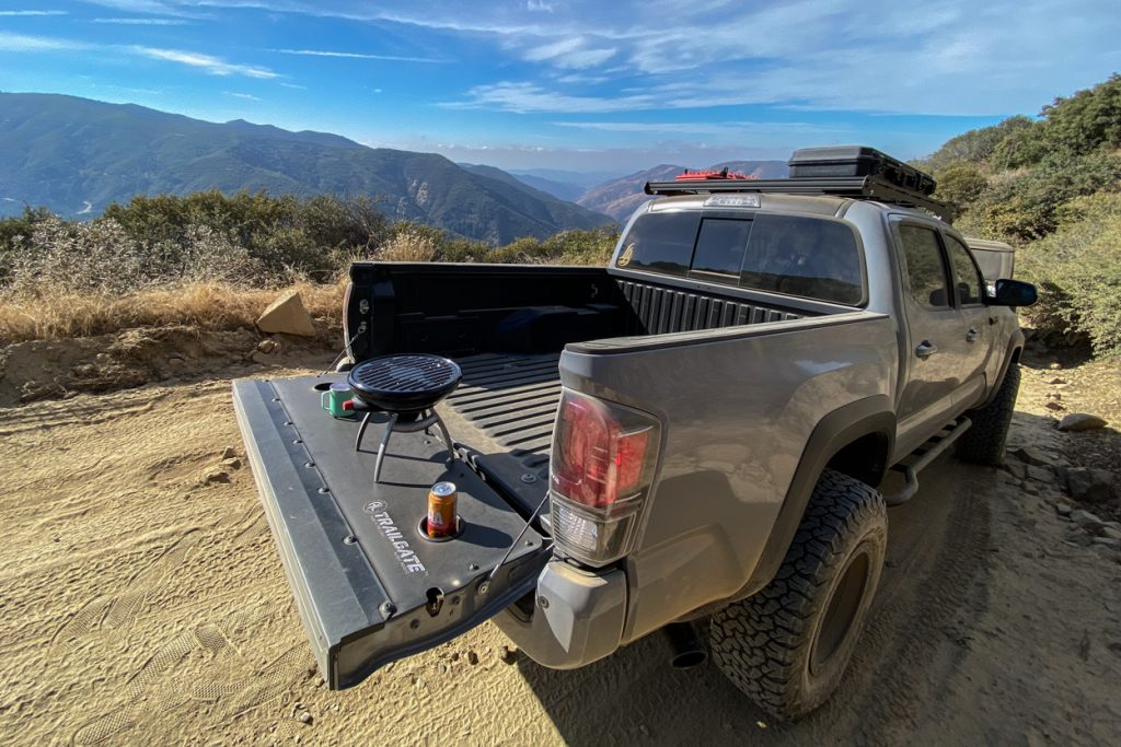 Lifted Cement TRD Pro 3rd Gen Tacoma with AL OffRoad Trailgate Panel