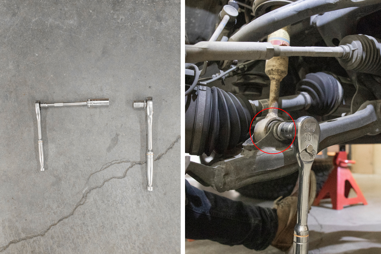 Remove Lower Control Shock Bolt