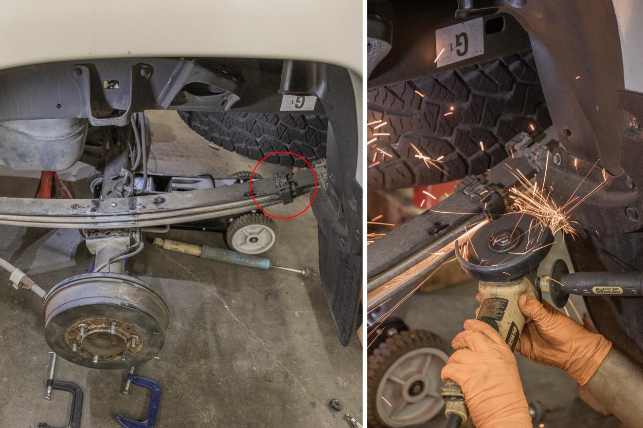 Remove Rear Bracket on Leaf Springs