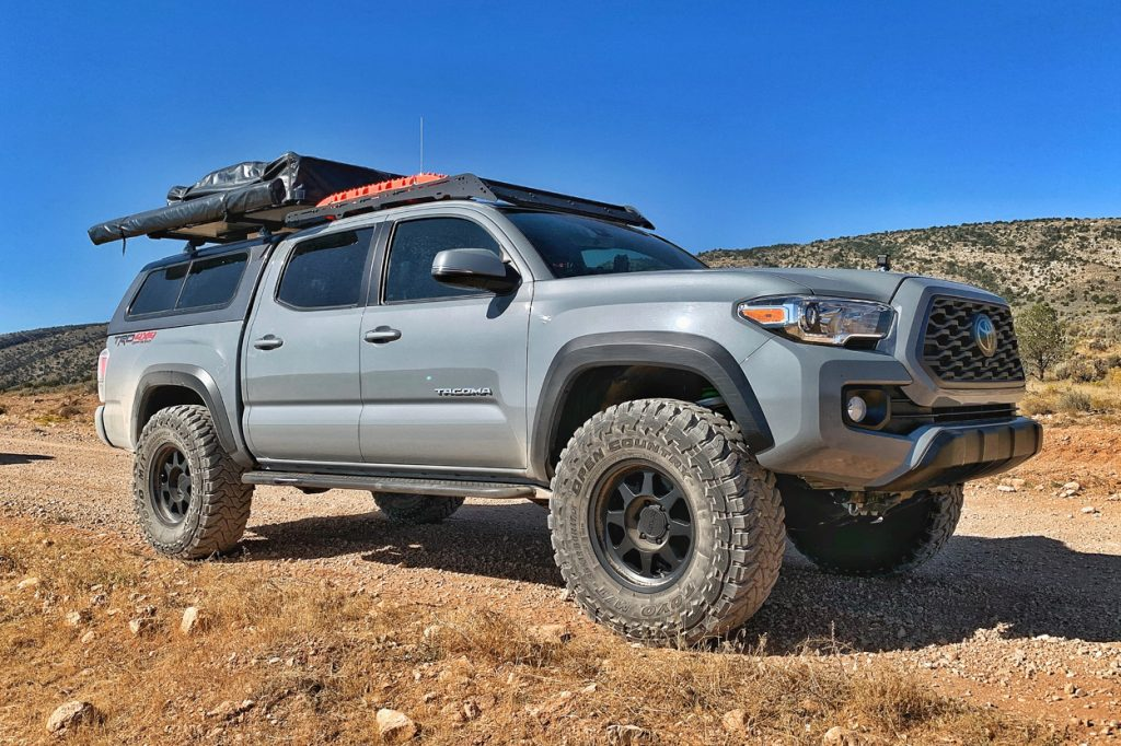Lifted Cement 3rd Gen Tacoma with Method Wheels & Prinsu Roof Rack