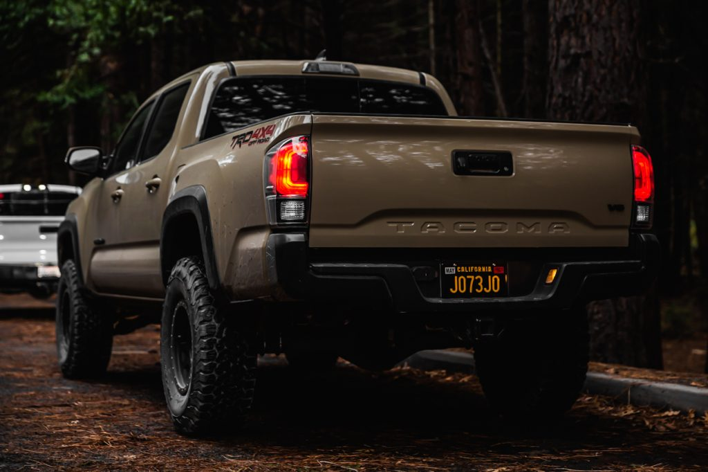 Lifted Quicksand 3rd Gen Tacoma with Icon RXT Multi Rate Rear Leaf Springs