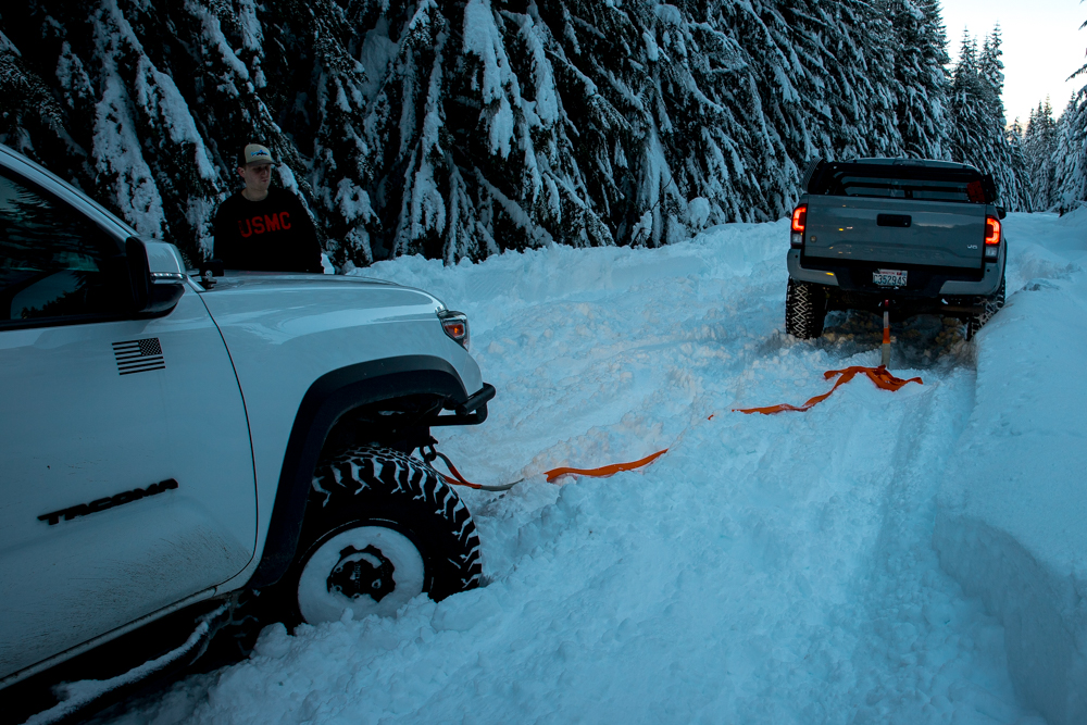 Tacoma Snow Recovery with Hitch Mounted Shackle Block