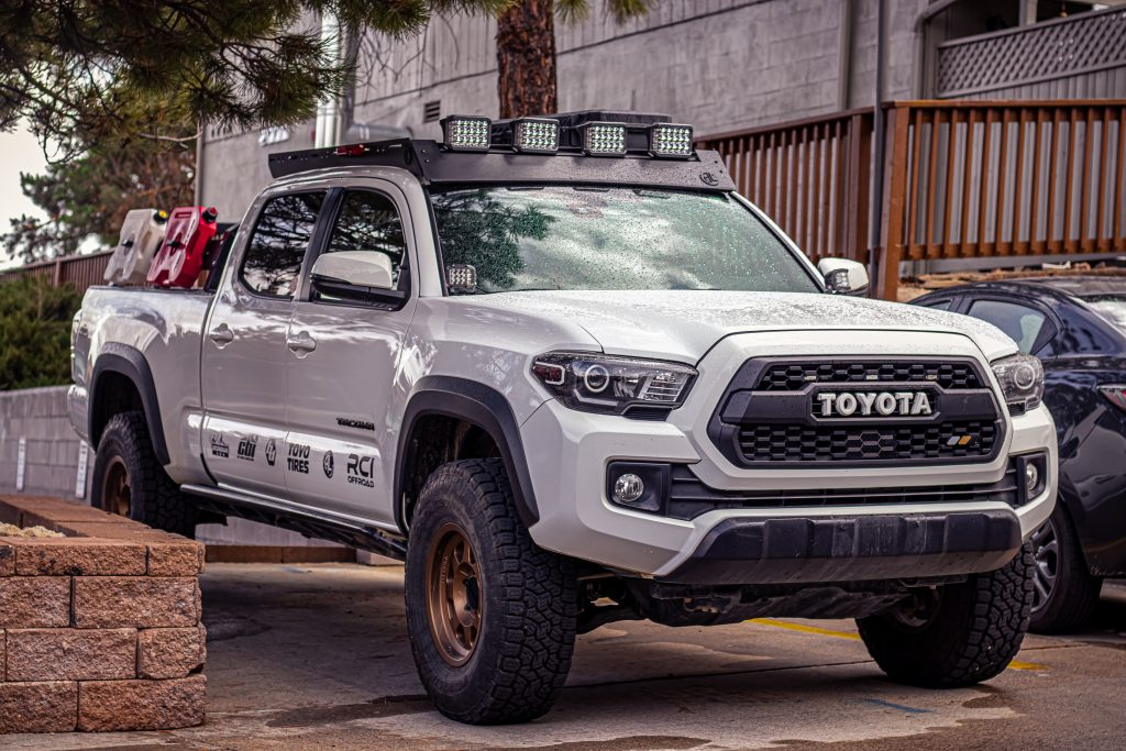 """3rd Gen Tacoma with Ironman 4x4 5"""" Universal LED Light Kit with Side Shooters on AL Offroad Roof Rack"""