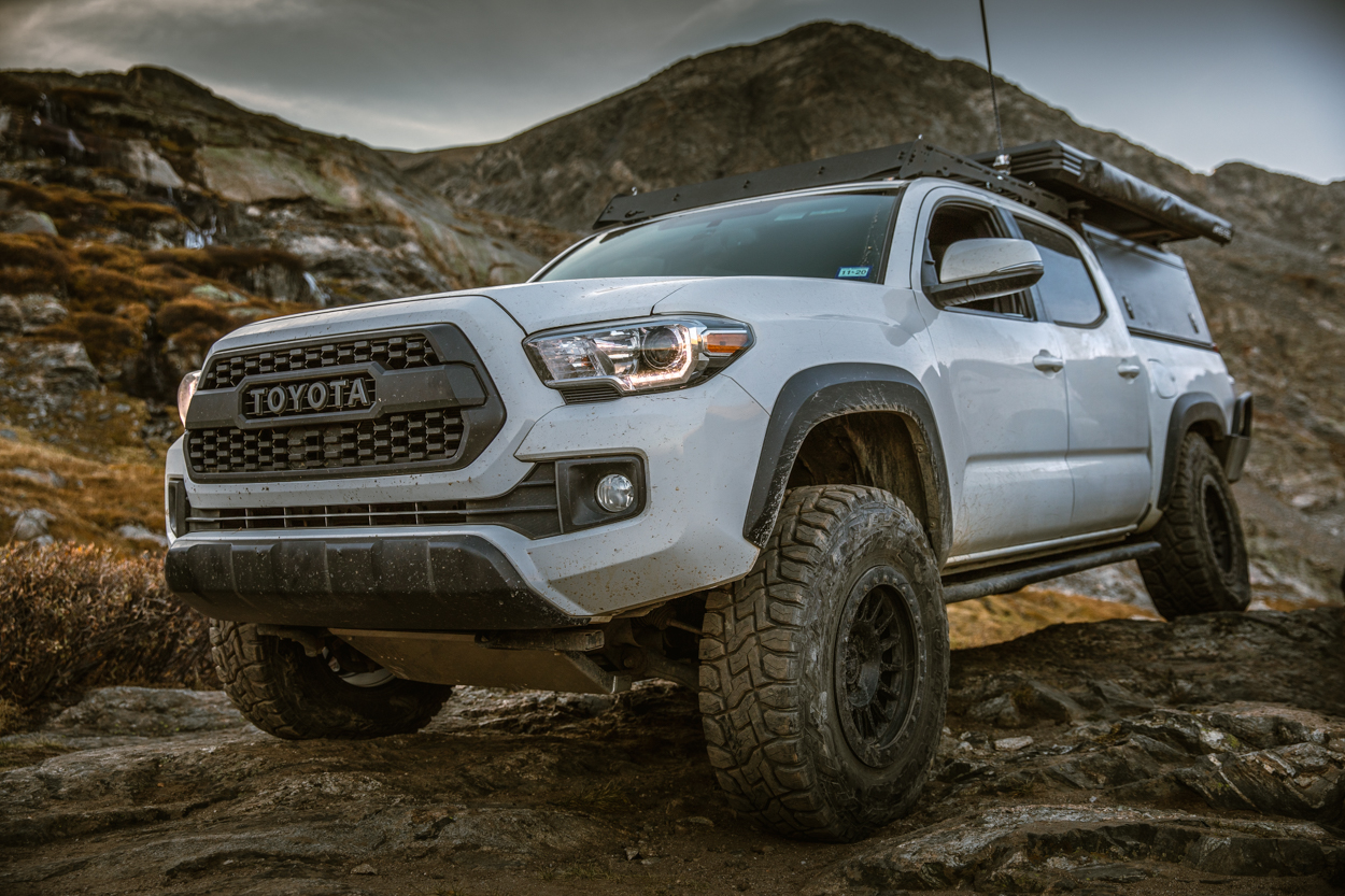 3rd Gen Tacoma with RRW RR6-H Wheels, Rock Sliders & Element Aluminum Skid Plates
