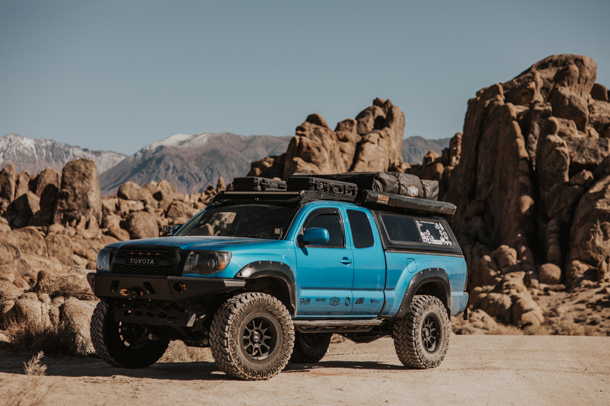 Lifted Speedway Blue Access Cab Tacoma with VTX Wheels, Prinsu Roof Rack & Tepui RTT