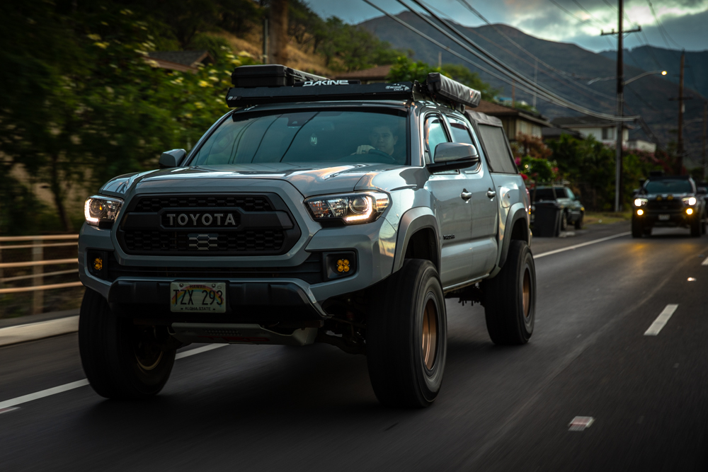 Lifted 3rd Gen Tacoma with TRD Pro Grille, Baja Designs Fogs & upTOP Overland Roof Rack