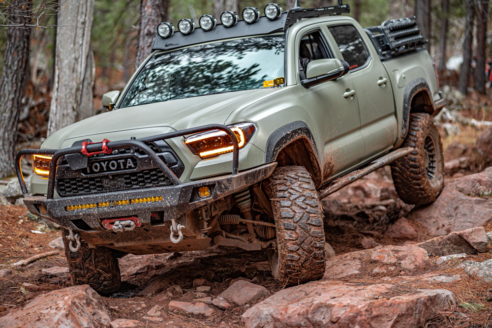 Lifted 3rd Gen Tacoma with C4 Overland Front Steel Bumper, Agency 6 Shovel & Prinsu Roof Rack with Hella LED Lights