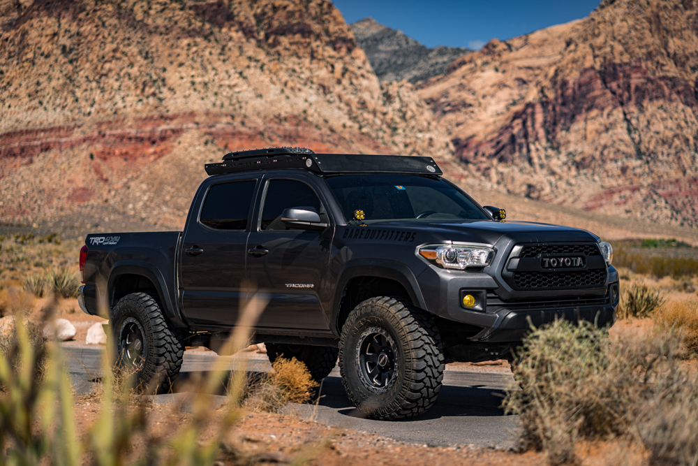 Lifted MGM 3rd Gen Tacoma with AL Offroad Roof Rack & TRD Pro Grille