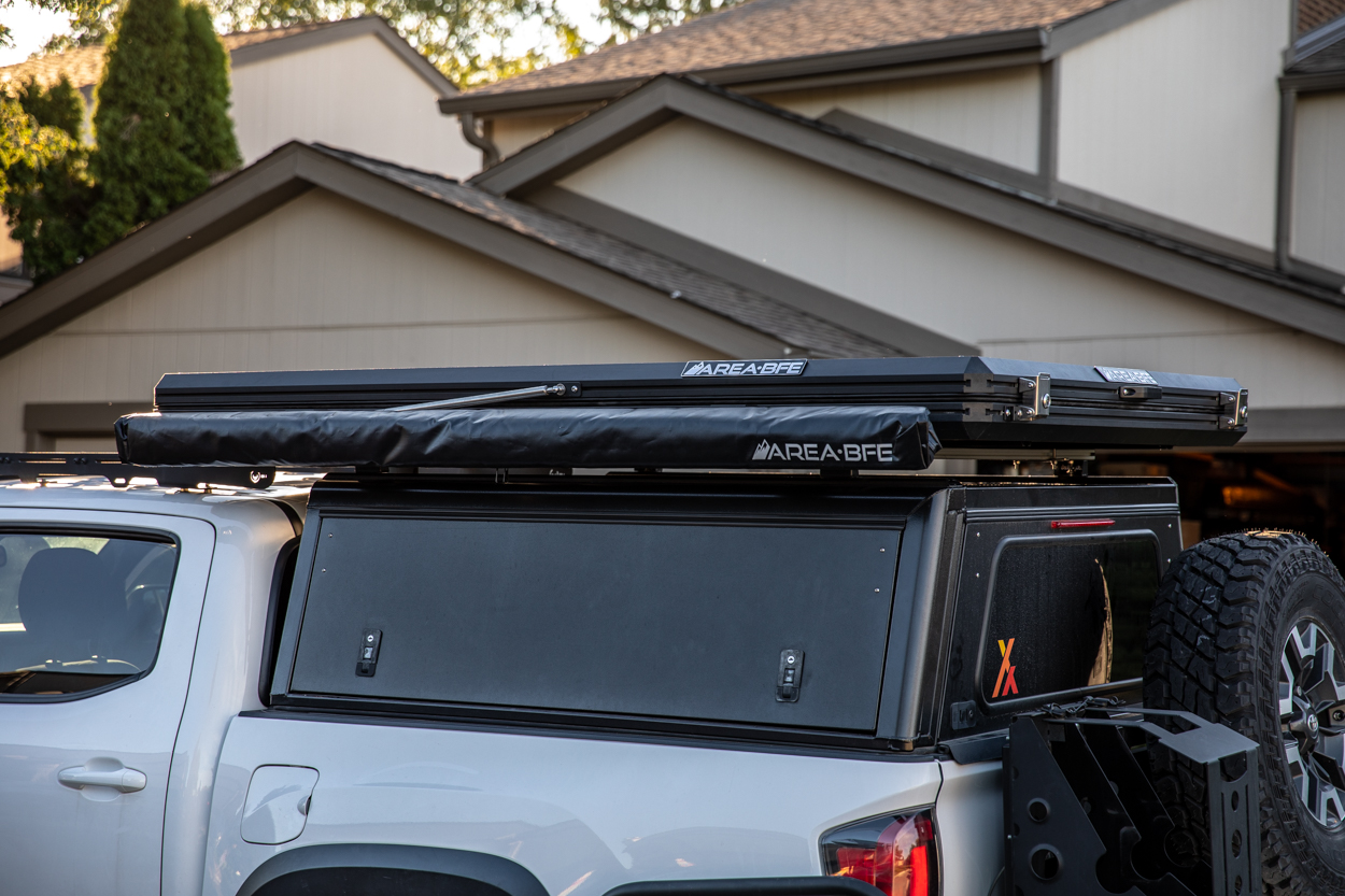 AreaBFE Rooftop Tent with Awning on Alu-Cab Explorer Canopy