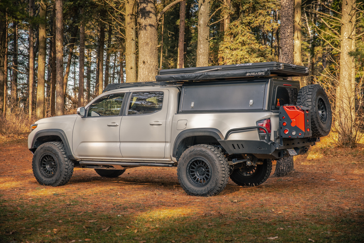 Lifted 3rd Gen Tacoma with AluCab Explorer Canopy & AreaBFE RTT & Awning