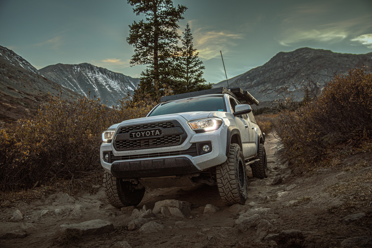 Lifted 3rd Gen Tacoma with TRD Pro Grille and Aluminum Skid Plates