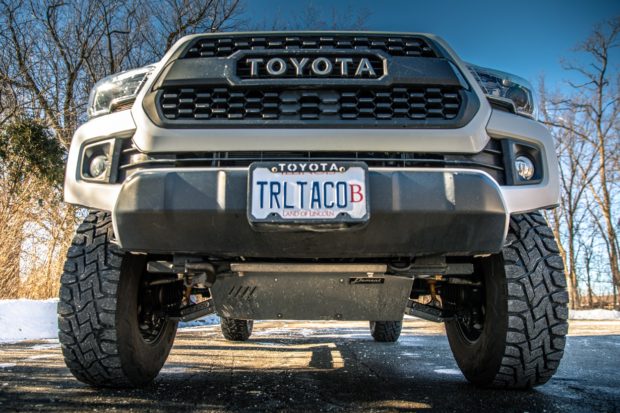 Lifted 3rd Gen Tacoma with Aluminum Skid Plates from Element by RA Motorsports & Dirt King Performance Lower Control Arms