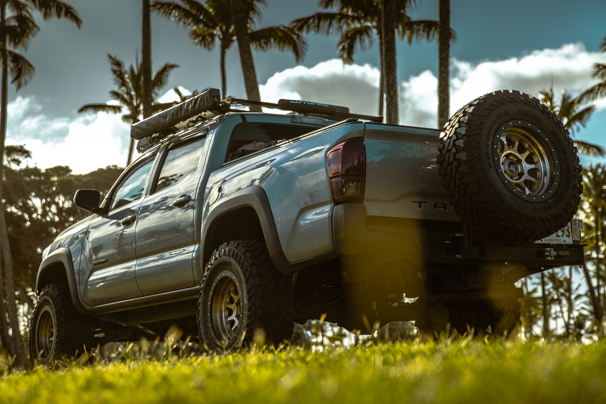 Lifted Cement 3rd Gen Tacoma with Eibach Lift Kit, Stealth Custom Series Ray 10 Wheels & RIGd Ultraswing