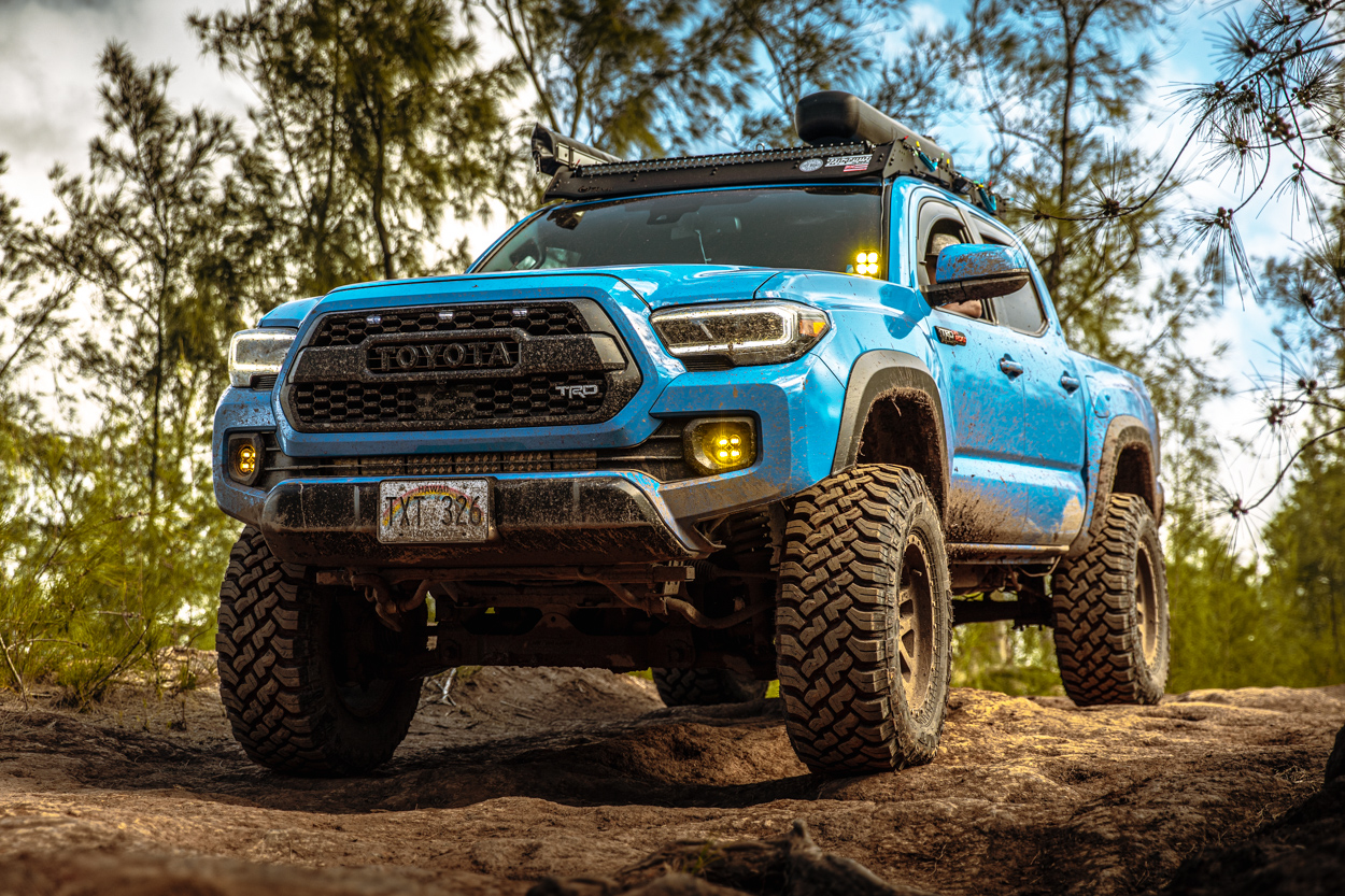 """Lifted 3rd Gen Tacoma Voodoo Blue Tacoma with Drop Bracket Lift Kit & 35"""" Tires"""