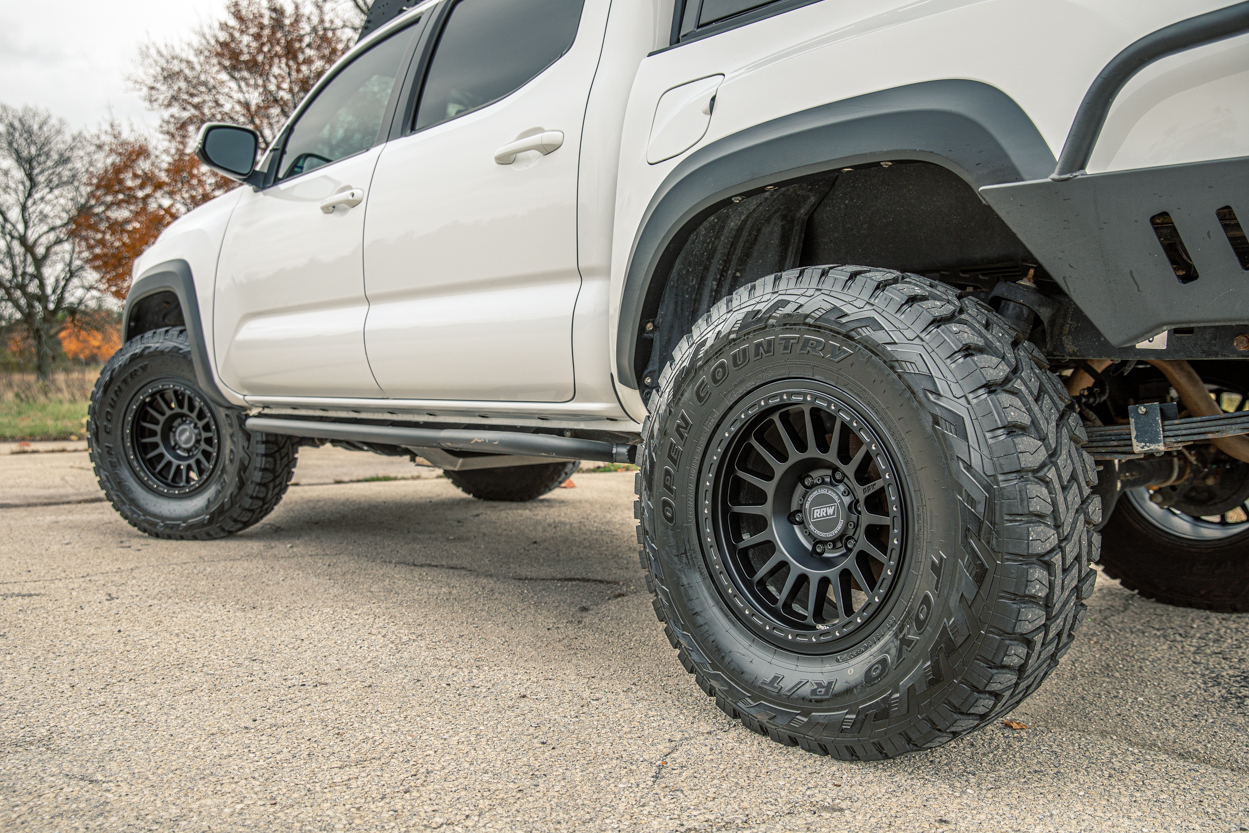 3rd Gen Tacoma with Relations Race Wheels Bolt-On DOM Rock Sliders & RRW RR6-H Wheels with Toyo Open Country RTs