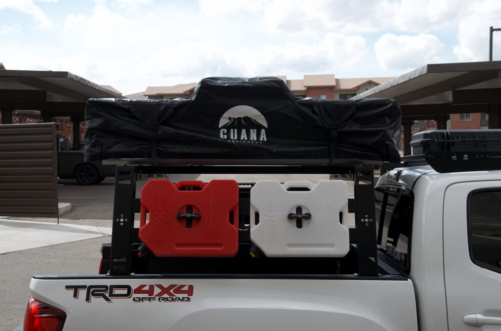 Guana Equipment Rooftop Tent on Bed Rack on 3rd Gen Tacoma